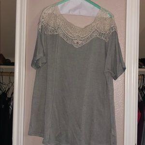 Crochet top short sleeve blouse